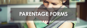 mom holding baby in front sling with text parentage forms